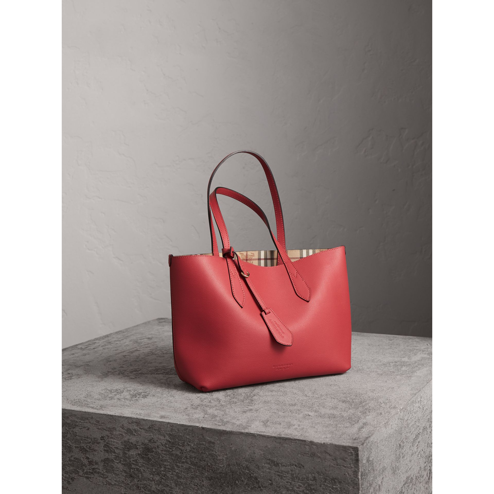 The Small Reversible Tote in Haymarket Check and Leather in Coral Red - Women | Burberry - gallery image 7