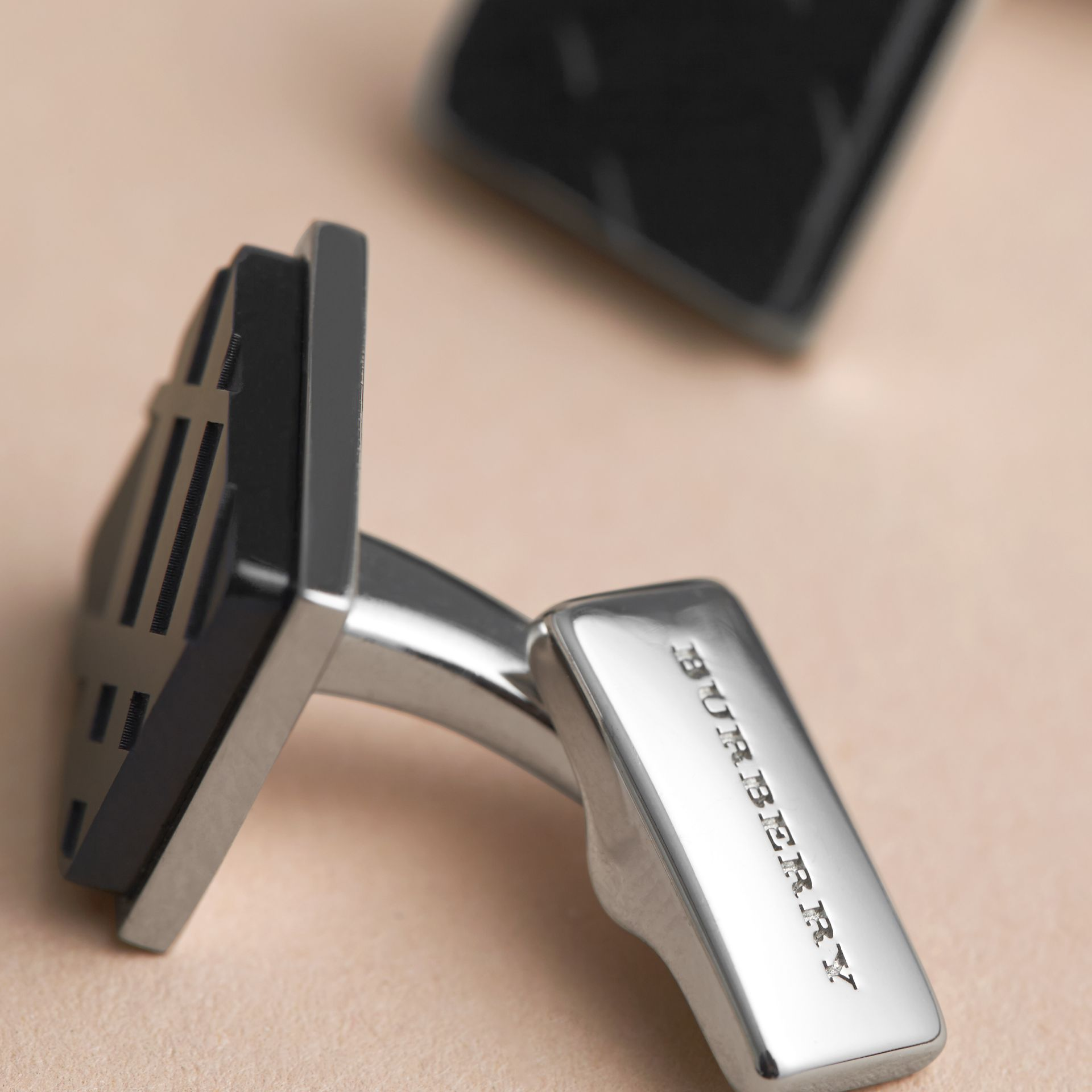 Check-engraved Square Cufflinks in Black - Men | Burberry - gallery image 2