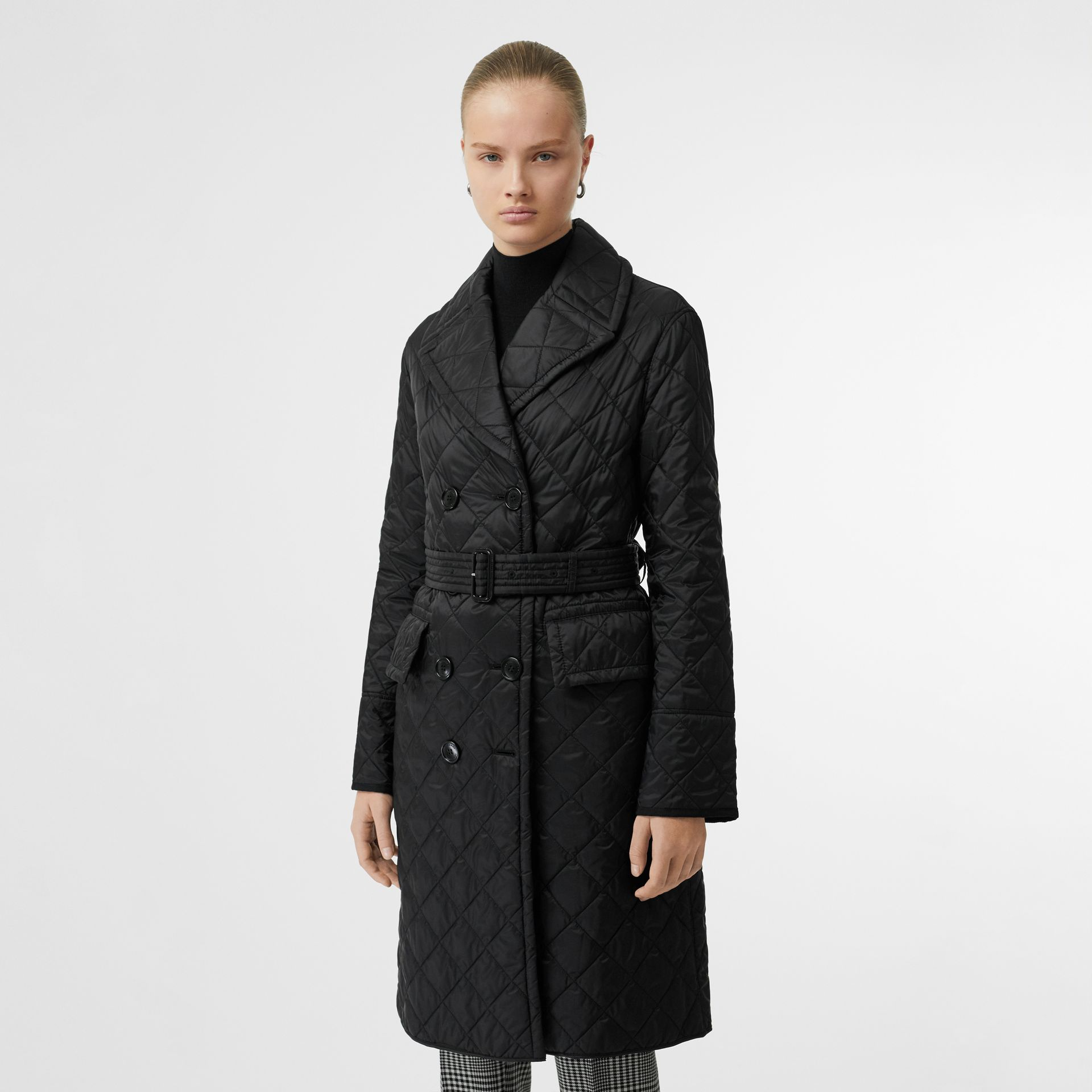 Lightweight Diamond Quilted Coat in Black - Women | Burberry - gallery image 0