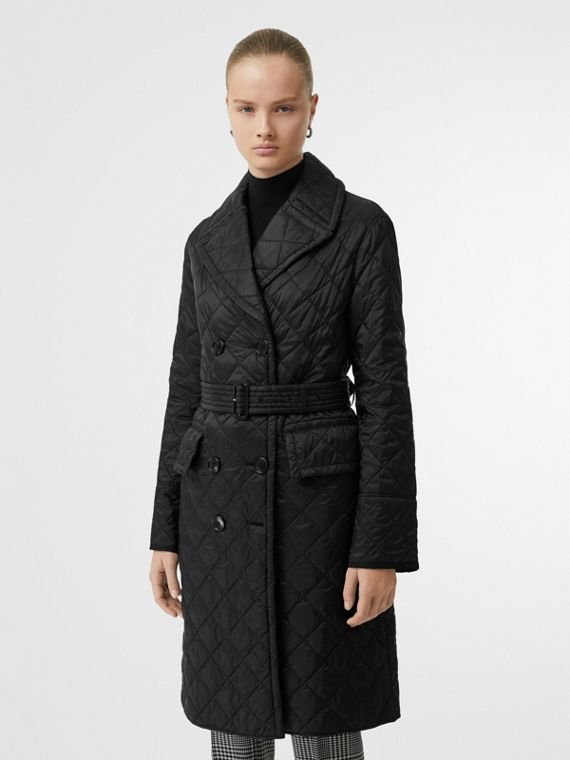 Lightweight Diamond Quilted Coat in Black