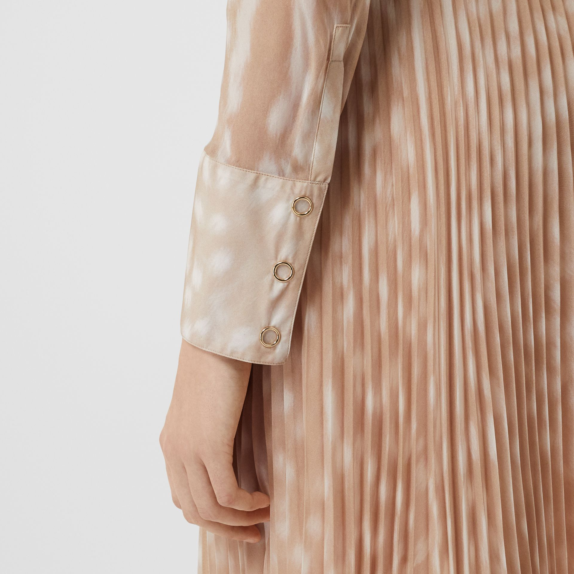 Deer Print Silk Chiffon Pussy-bow Blouse in Soft Fawn - Women | Burberry United Kingdom - gallery image 4