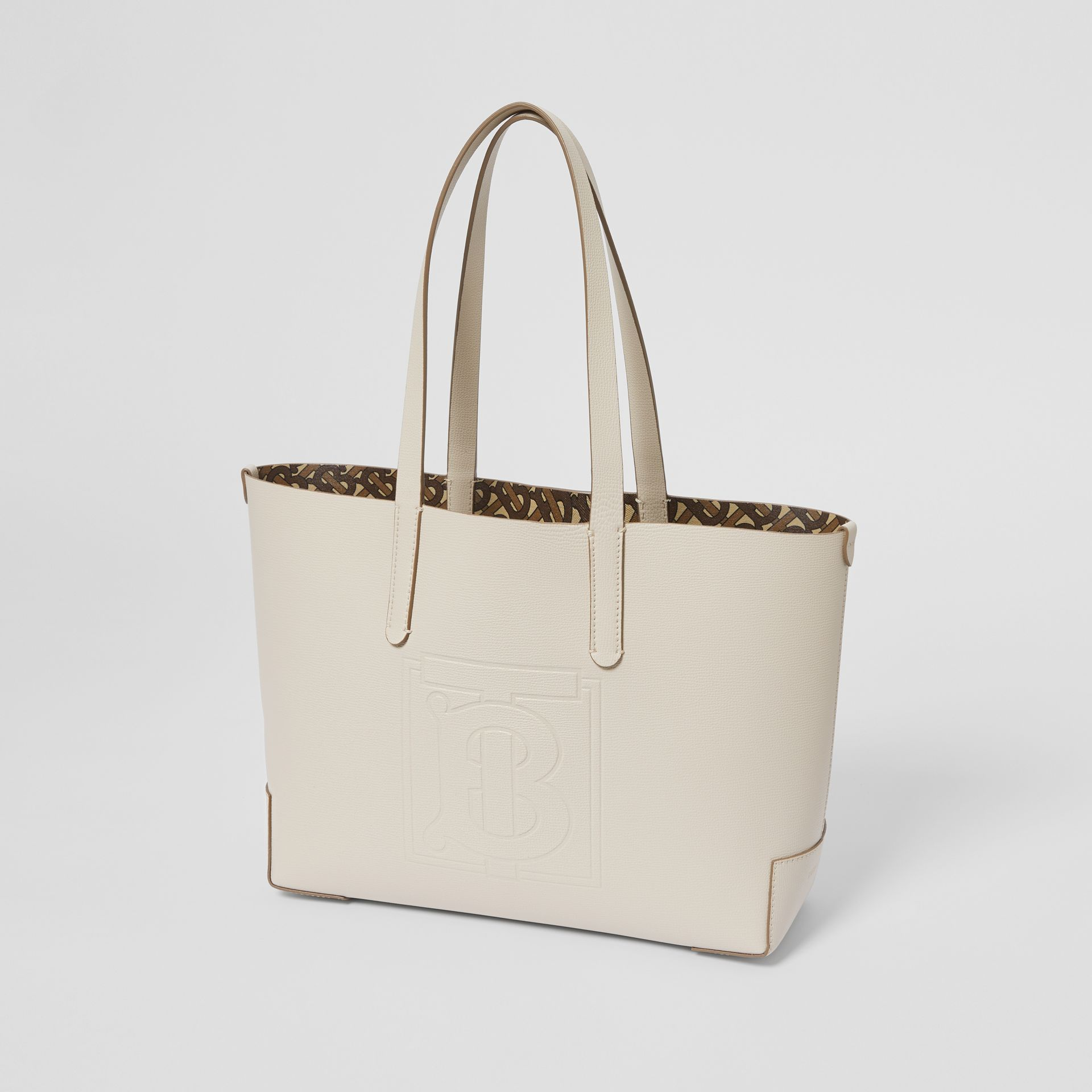 Embossed Monogram Motif Leather Tote in Limestone - Women | Burberry Australia - gallery image 3