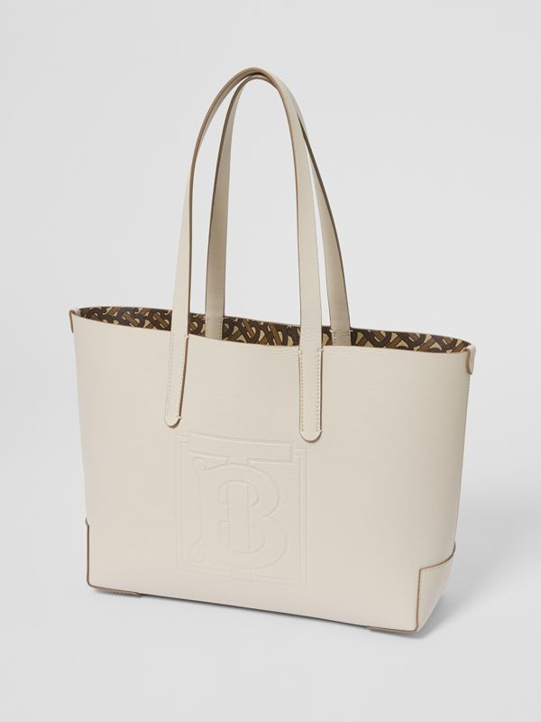 Embossed Monogram Motif Leather Tote in Limestone - Women | Burberry Australia - cell image 3