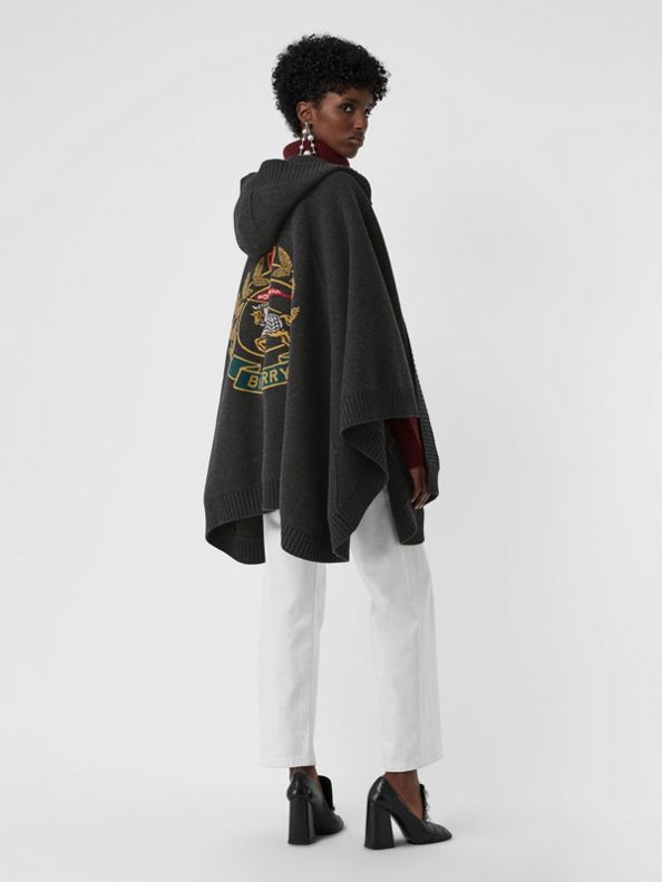Crest Jacquard Wool Blend Hooded Cape in Charcoal
