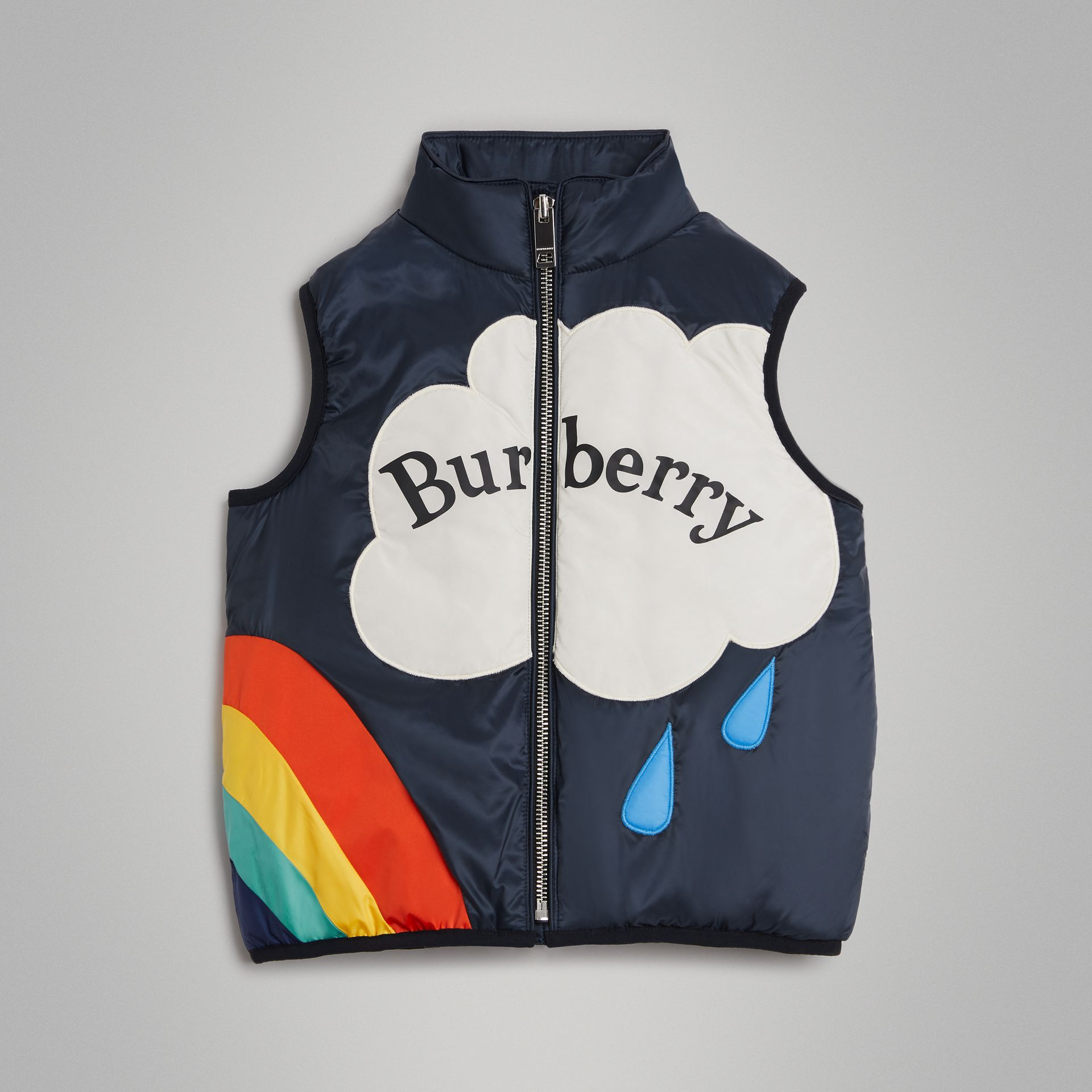 Rainbow Graphic Showerproof Down-filled Gilet in Midnight | Burberry - gallery image 0