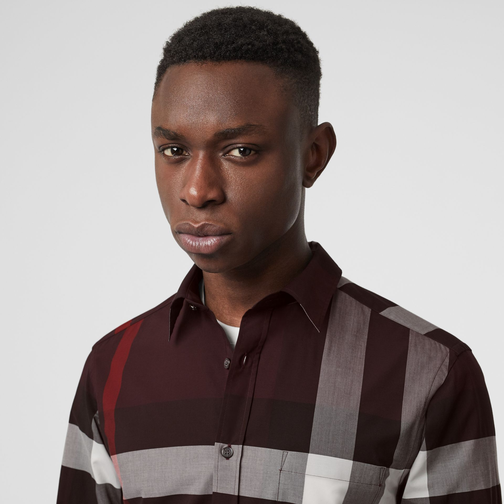 Check Stretch Cotton Shirt in Deep Claret - Men | Burberry United Kingdom - gallery image 1