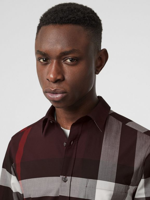 Check Stretch Cotton Shirt in Deep Claret - Men | Burberry United Kingdom - cell image 1