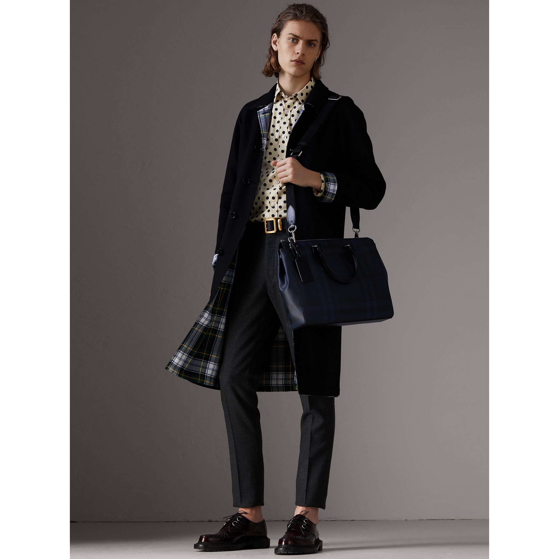 Large London Check Briefcase in Navy/black - Men | Burberry Australia - gallery image 2