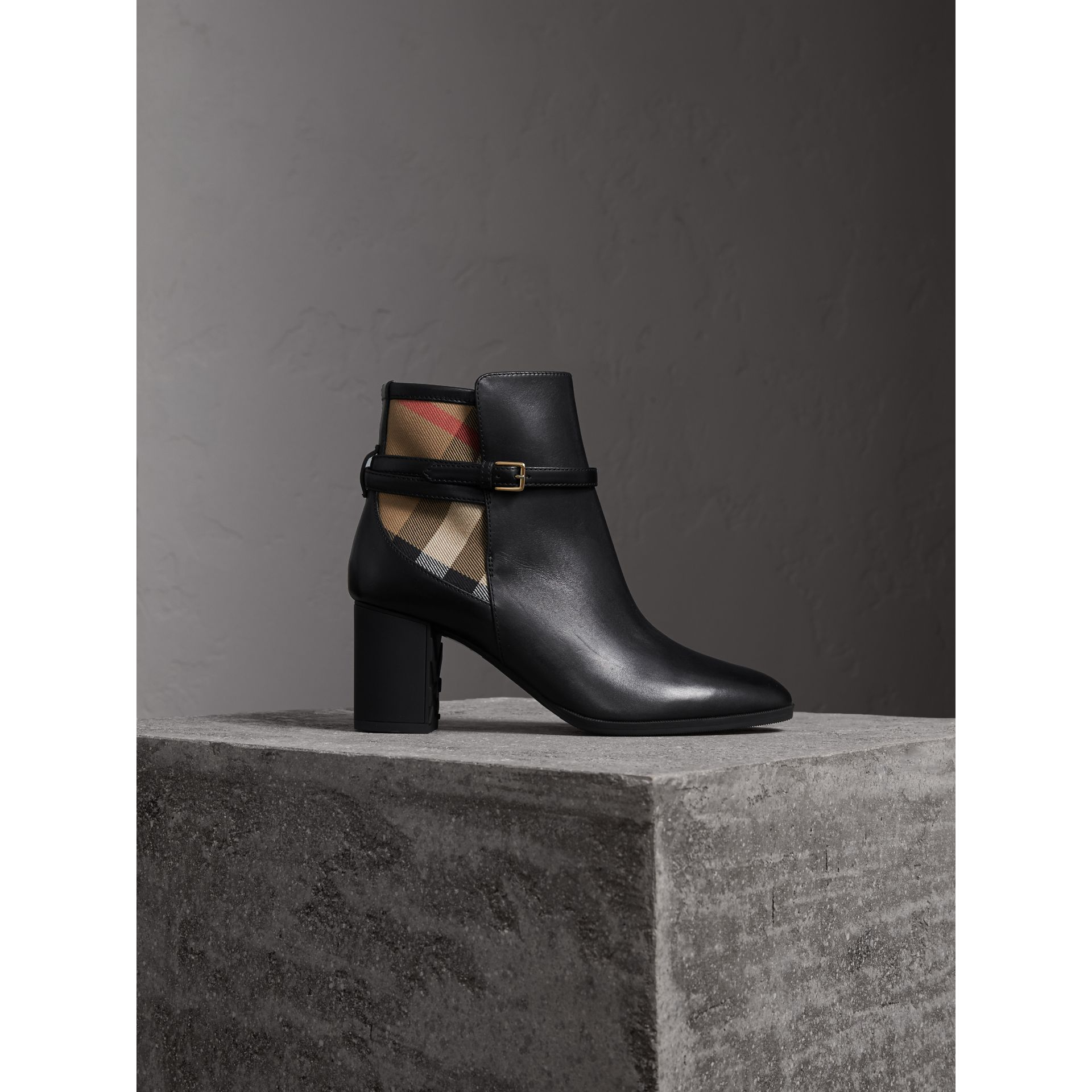 House Check and Leather Ankle Boots - Women | Burberry - gallery image 1