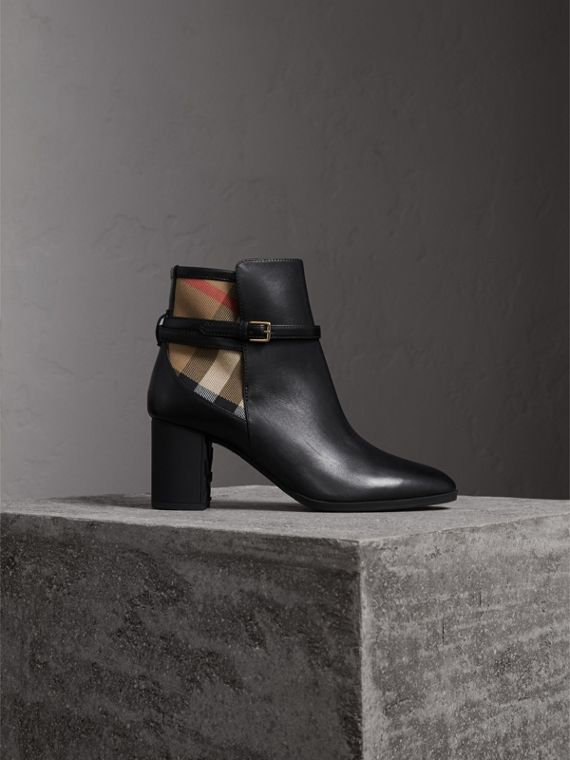 Ankle boots de couro com estampa House Check (Preto)