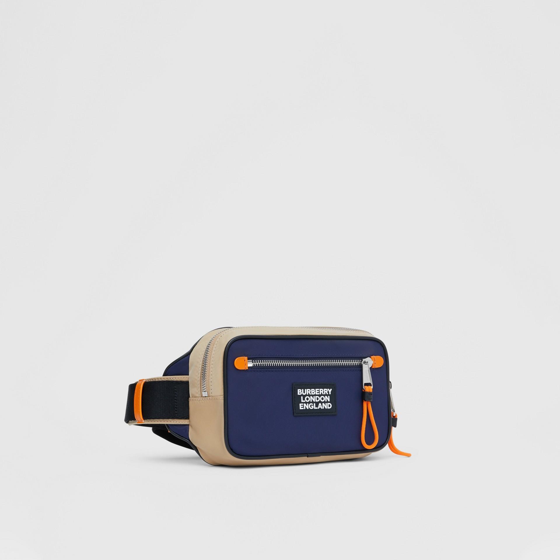 Logo Appliqué Two-tone ECONYL® Bum Bag in Regency Blue/bright Orange | Burberry United Kingdom - gallery image 8