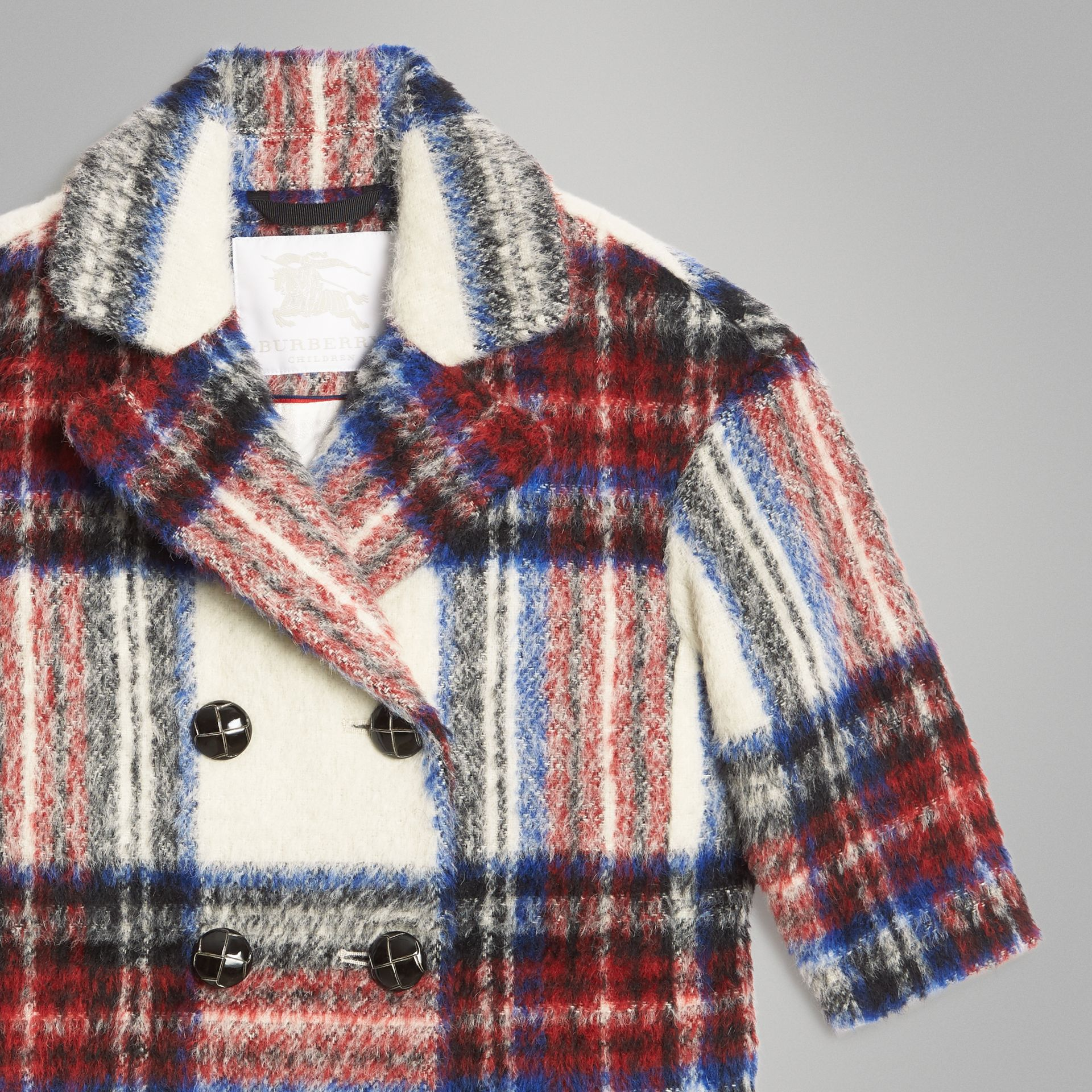 Tartan Wool Alpaca Blend Tailored Coat in Natural White - Children | Burberry - gallery image 5