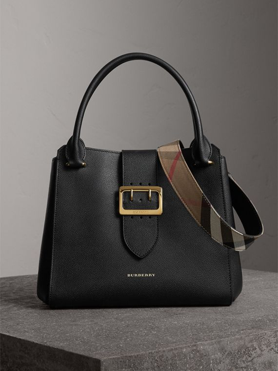 The Medium Buckle Tote in Grainy Leather in Black