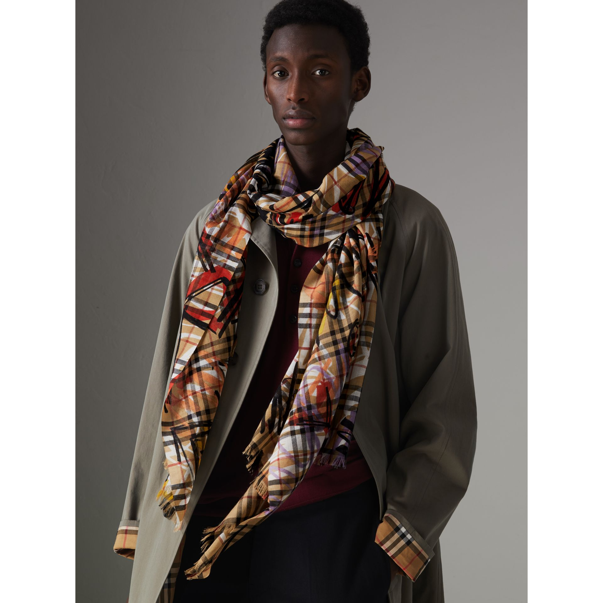 Graffiti Vintage Check Wool Silk Scarf in Antique Yellow | Burberry Australia - gallery image 5