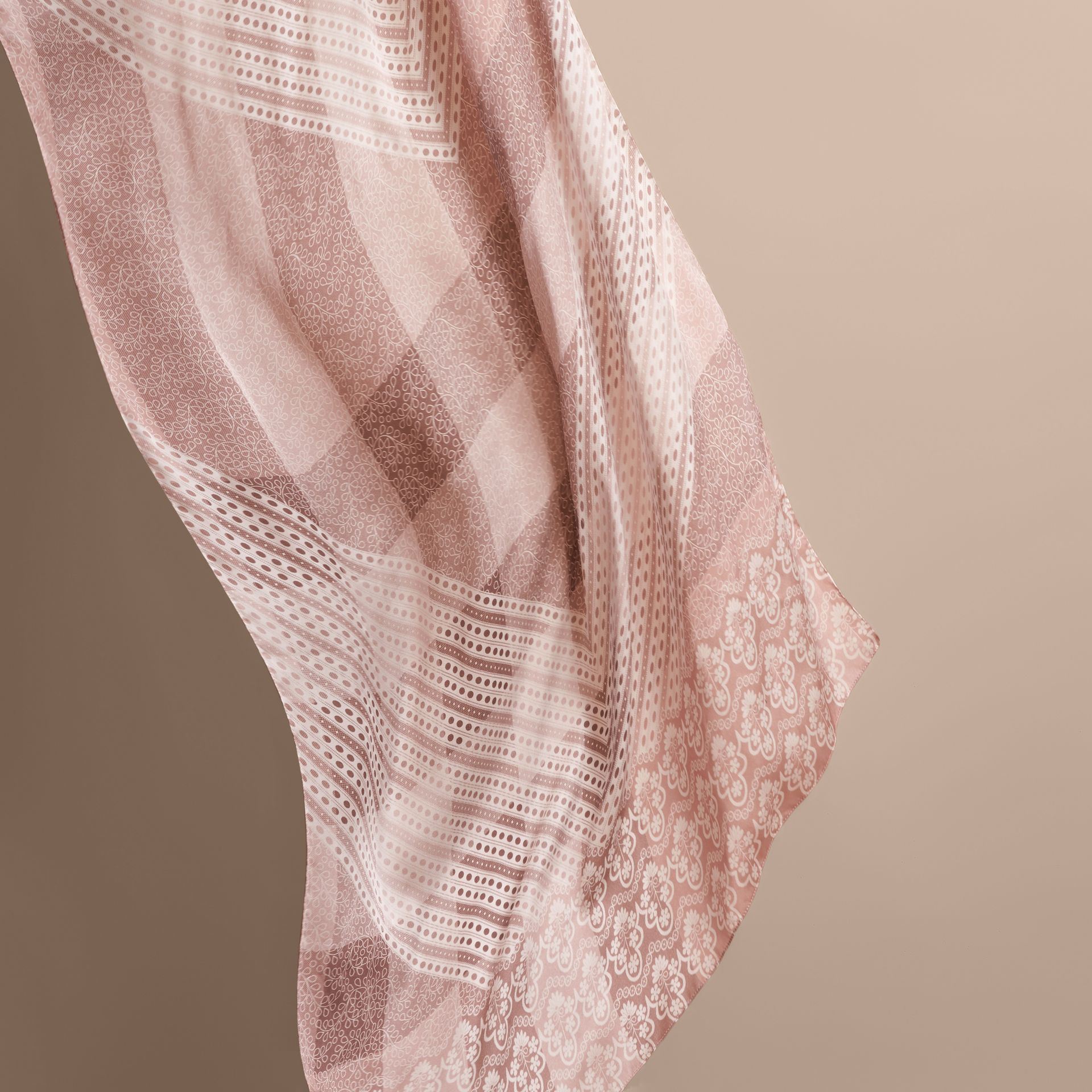 Floral Lace and Check Print Silk Scarf in Ash Rose - Women | Burberry Singapore - gallery image 4