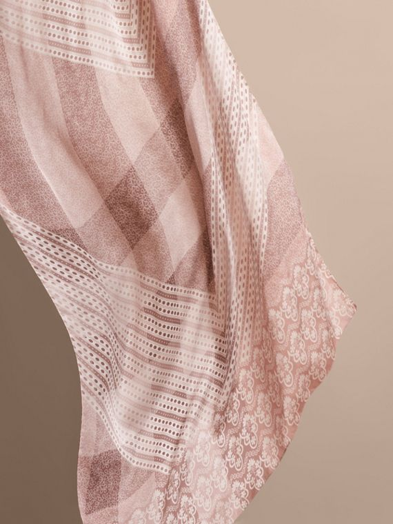 Floral Lace and Check Print Silk Scarf in Ash Rose - Women | Burberry - cell image 3