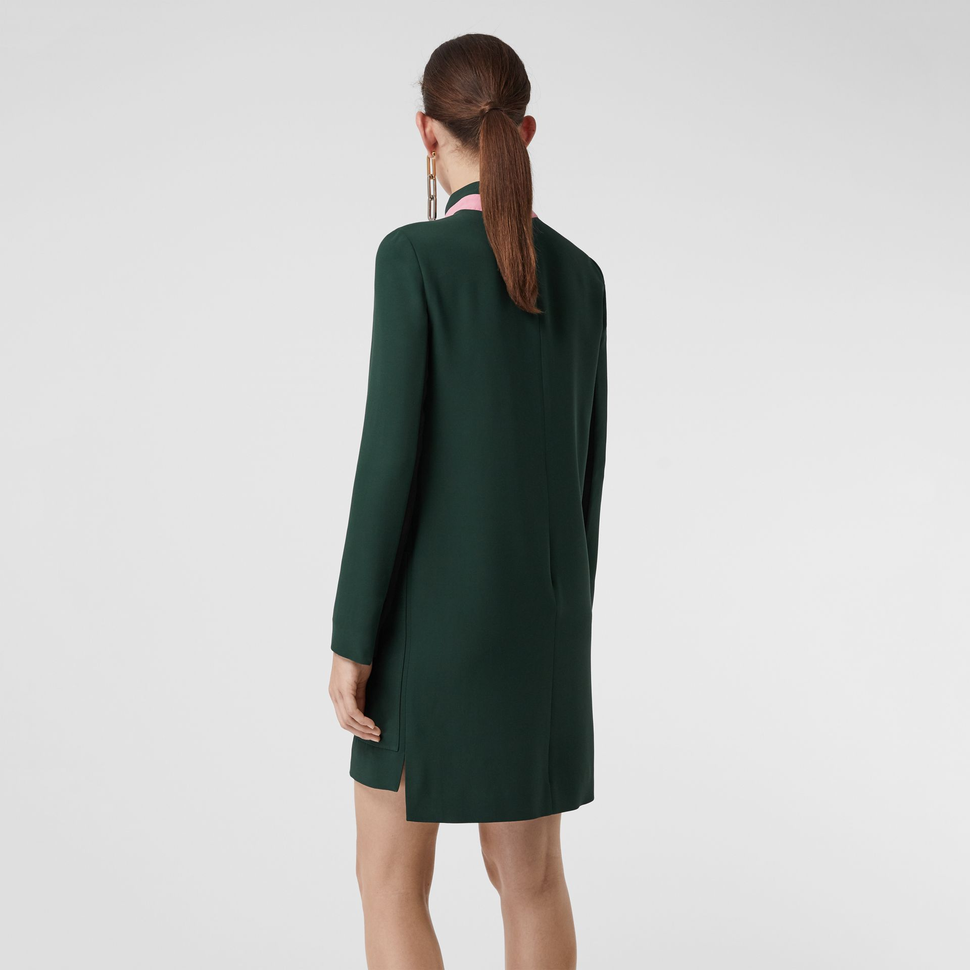 Two-tone Silk Wool Shift Dress in Dark Forest Green - Women | Burberry - gallery image 2