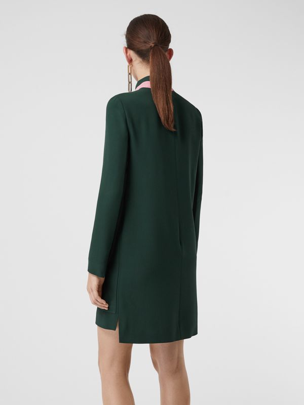 Two-tone Silk Wool Shift Dress in Dark Forest Green - Women | Burberry - cell image 2