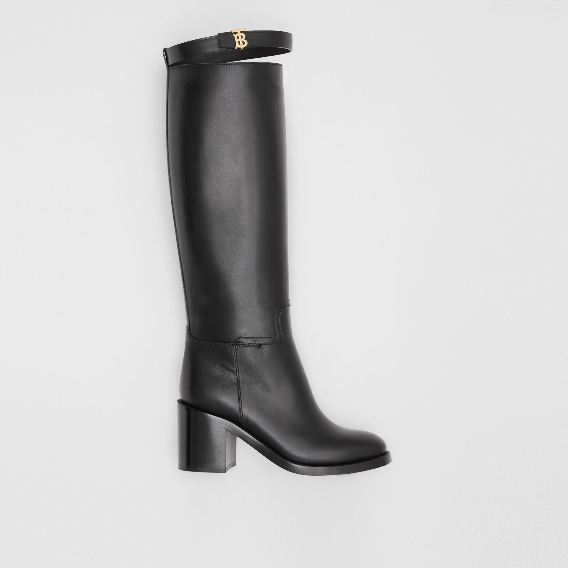 Monogram Motif Leather Knee-high Boots in Black - Women | Burberry United Kingdom - gallery image 0