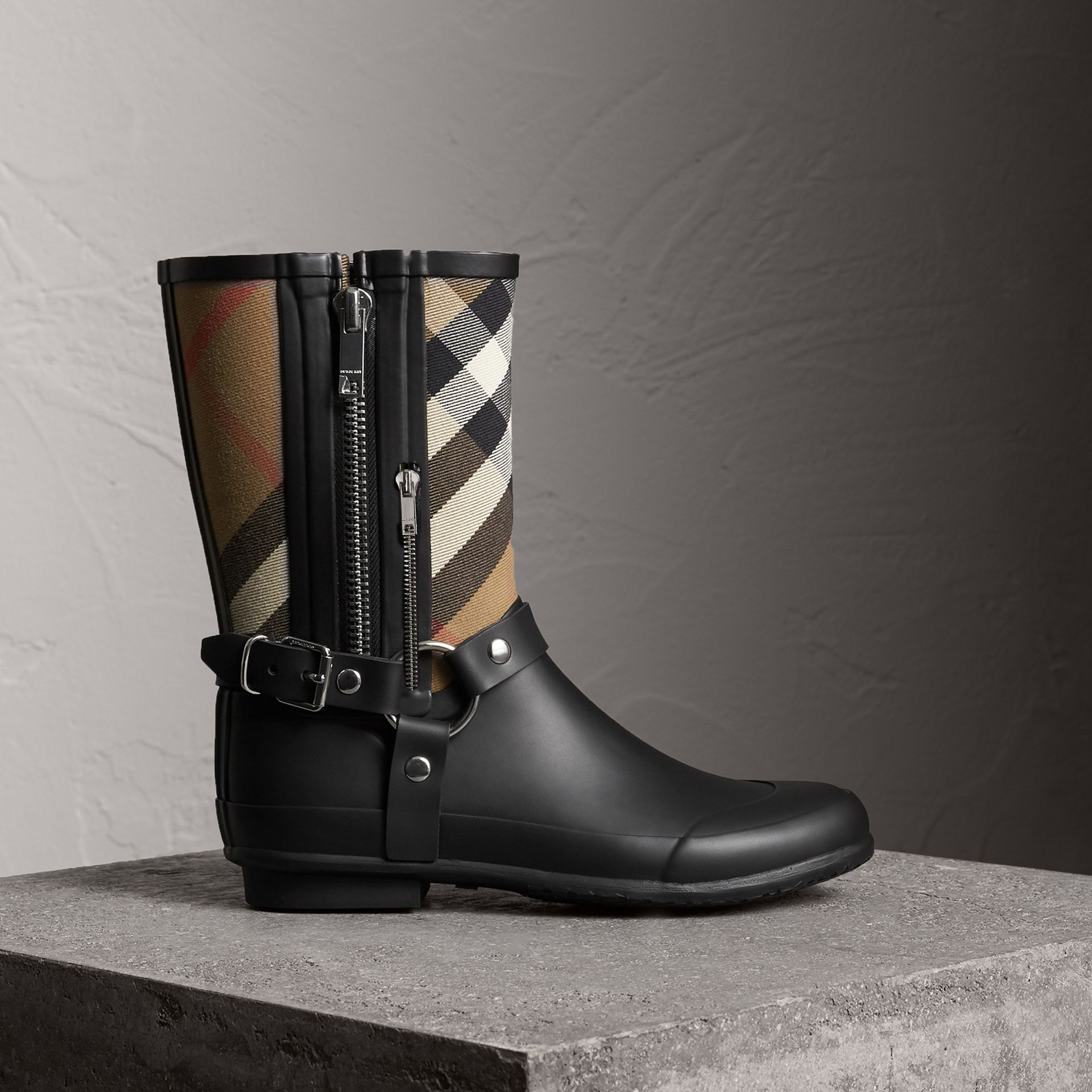 Buckle and Strap Detail Check Rain Boots in House Check/black - Women | Burberry United Kingdom - gallery image 0