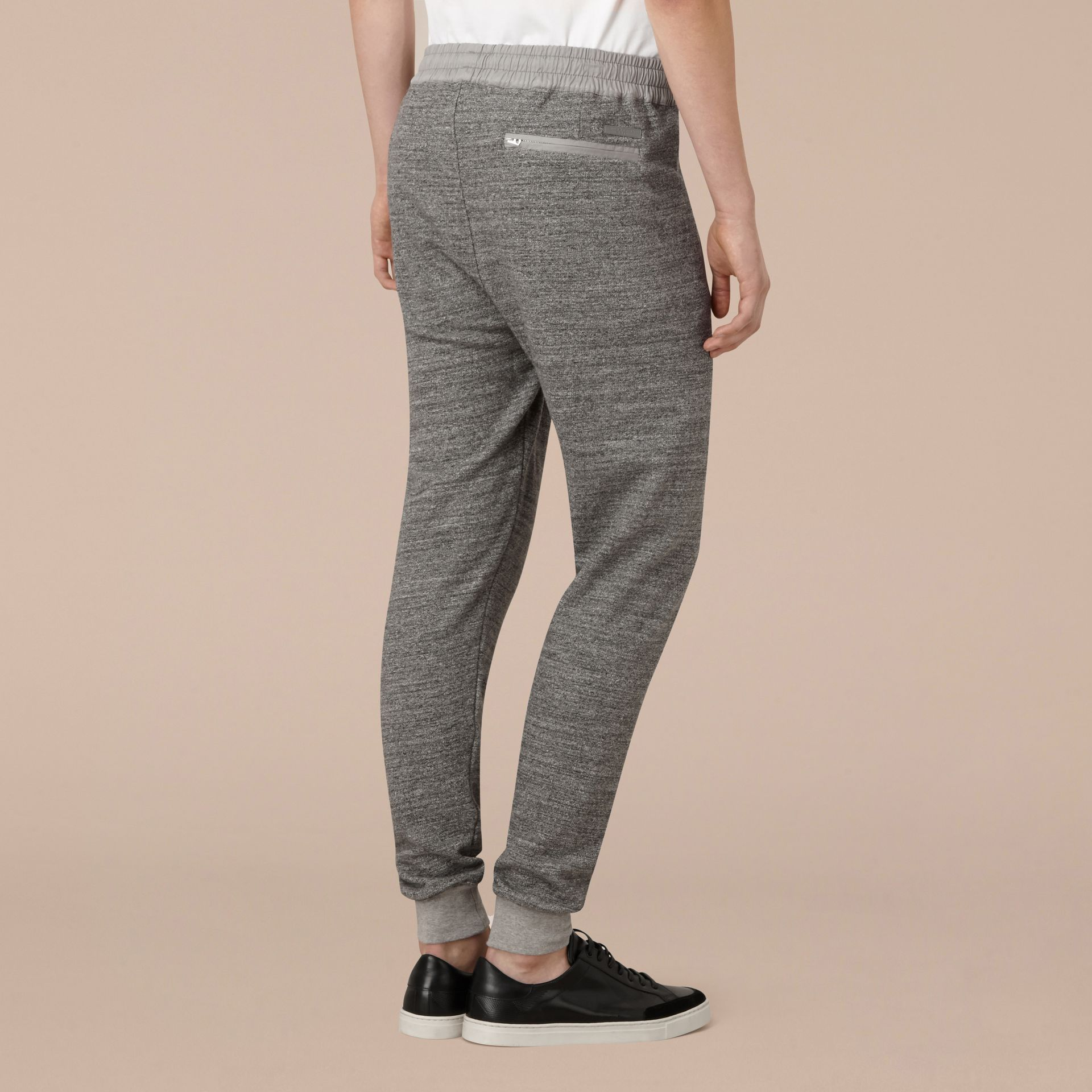 Mid grey melange Cotton Sweat pants - gallery image 3