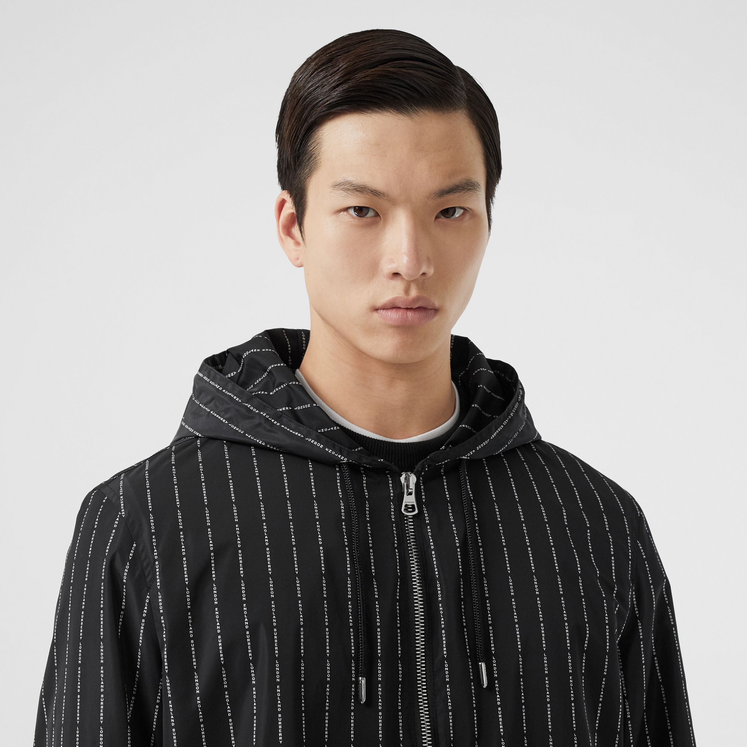 Logo Pinstripe Nylon Hooded Jacket in Black - Men | Burberry Canada - 2