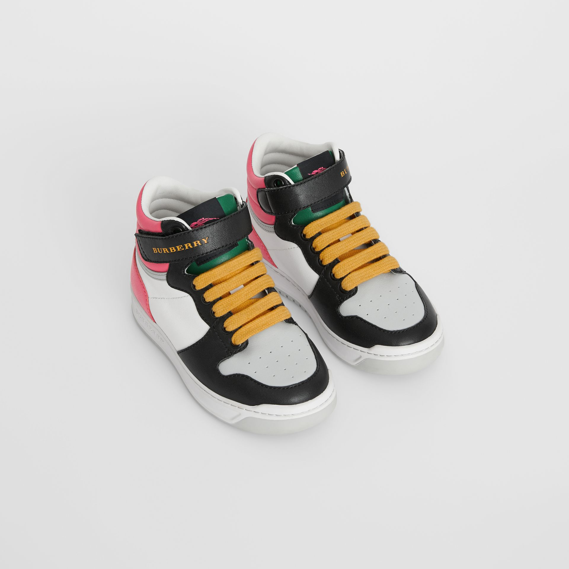 Sneakers montantes en cuir color-block (Rose Vif) - Enfant | Burberry - photo de la galerie 0