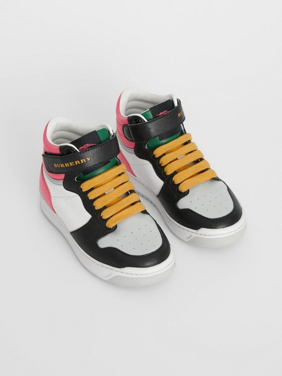 Colour Block Leather High-top Sneakers in Bright Rose