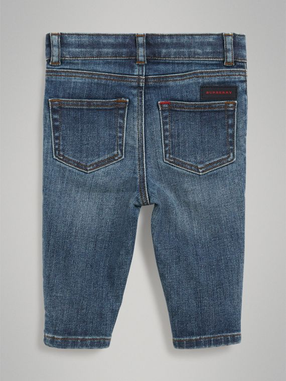 Skinny Fit Stretch Denim Jeans in Mid Indigo | Burberry - cell image 3