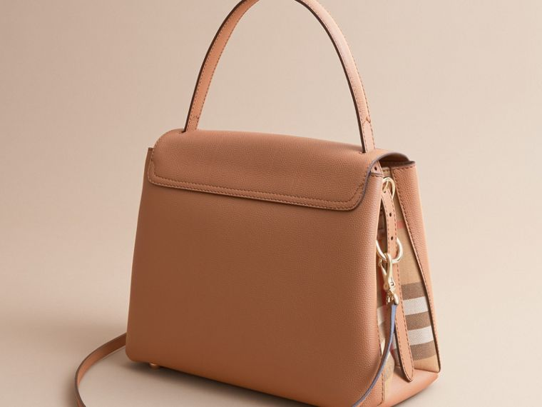 Medium Grainy Leather and House Check Tote Bag in Dark Sand - Women | Burberry Canada - cell image 4