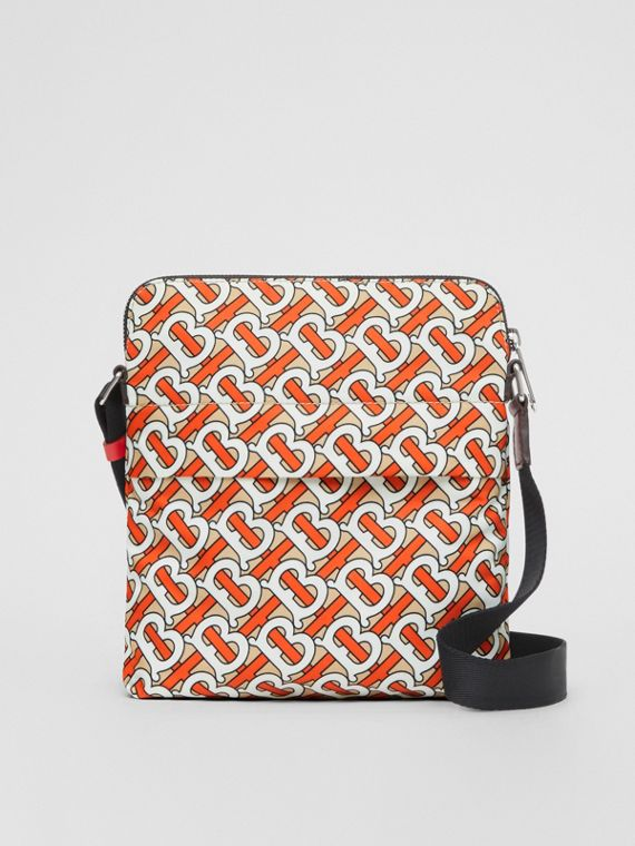 Monogram Print Nylon Crossbody Bag in Vermilion
