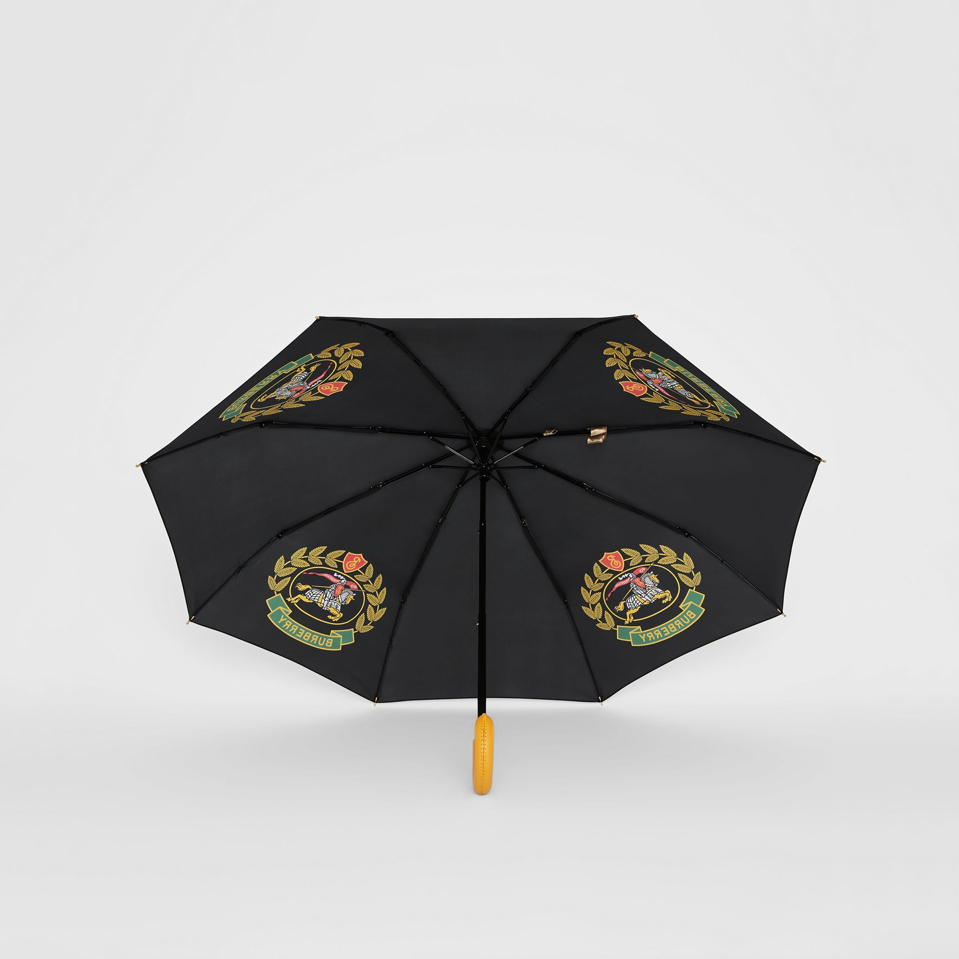 Crest Print Folding Umbrella in Black | Burberry - gallery image 4