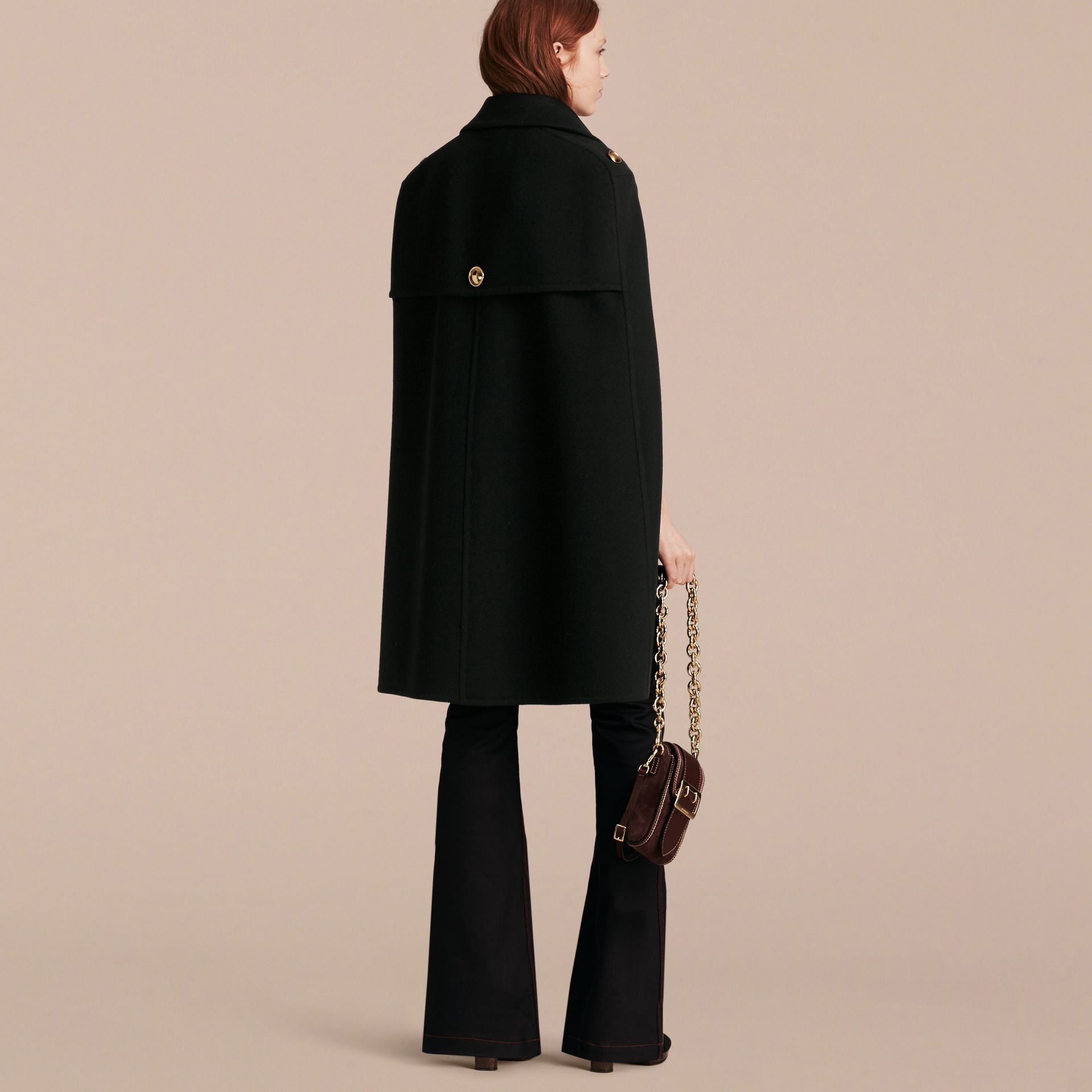 Black Double Cashmere Military Cape - gallery image 3