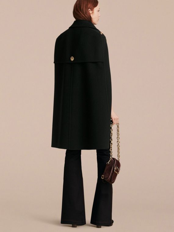 Black Double Cashmere Military Cape - cell image 2