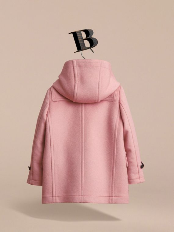 Wool Duffle Coat with Check-lined Hood in Pale Rose - Girl | Burberry - cell image 3