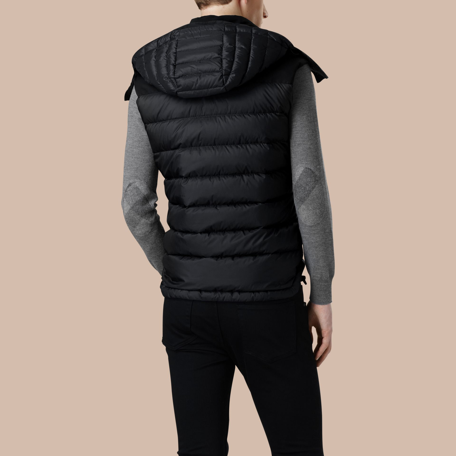 Black Down-filled Technical Gilet with Detachable Hood Black - gallery image 4