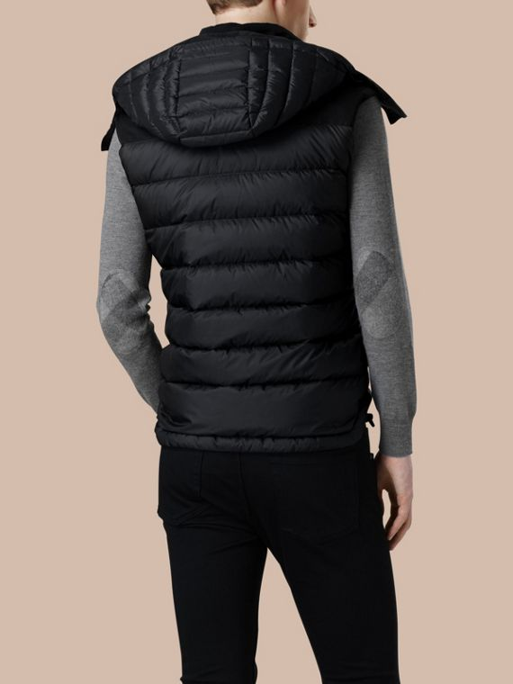Black Down-filled Technical Gilet with Detachable Hood Black - cell image 3