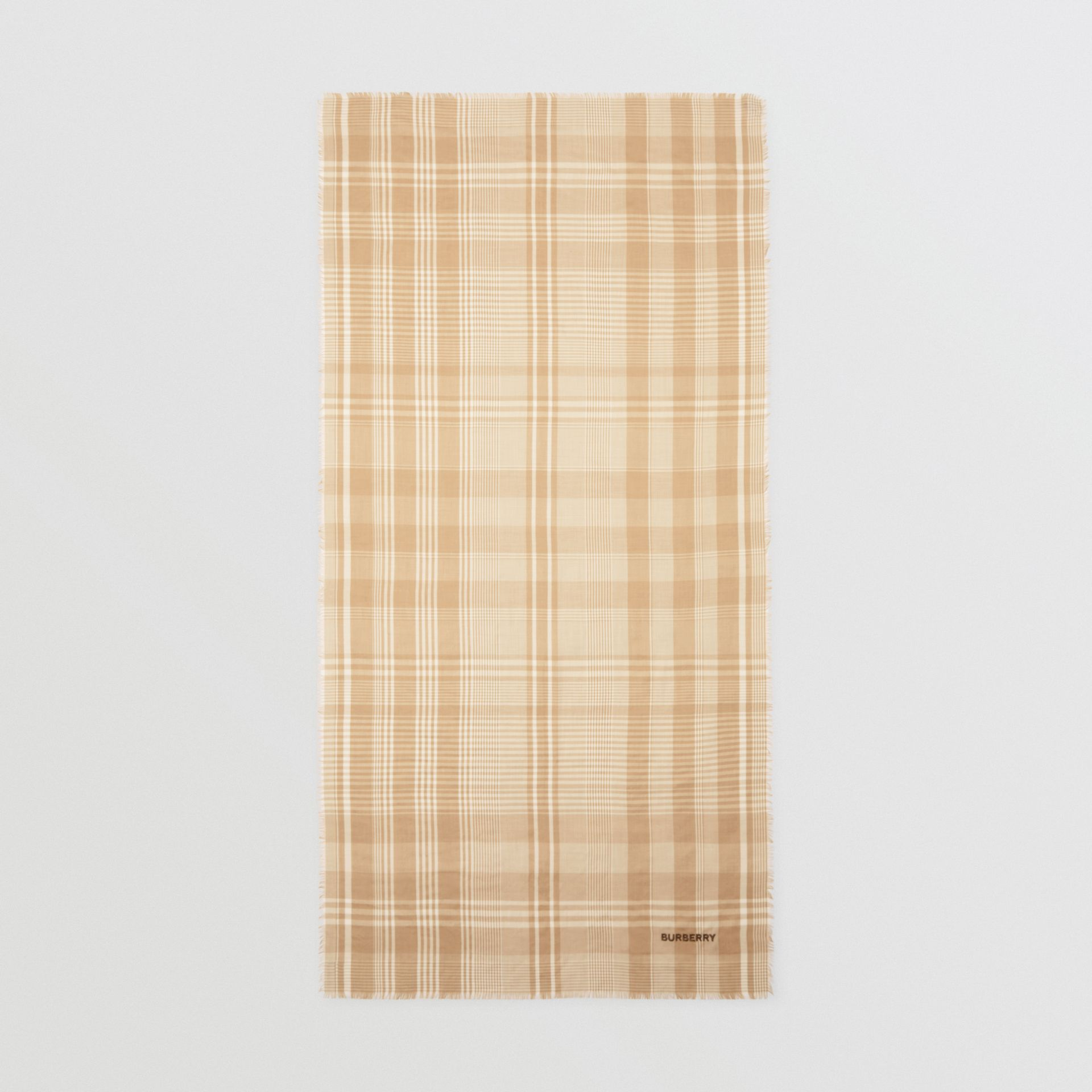 Logo Embroidered Lightweight Check Cashmere Scarf in Archive Beige/white | Burberry - gallery image 5