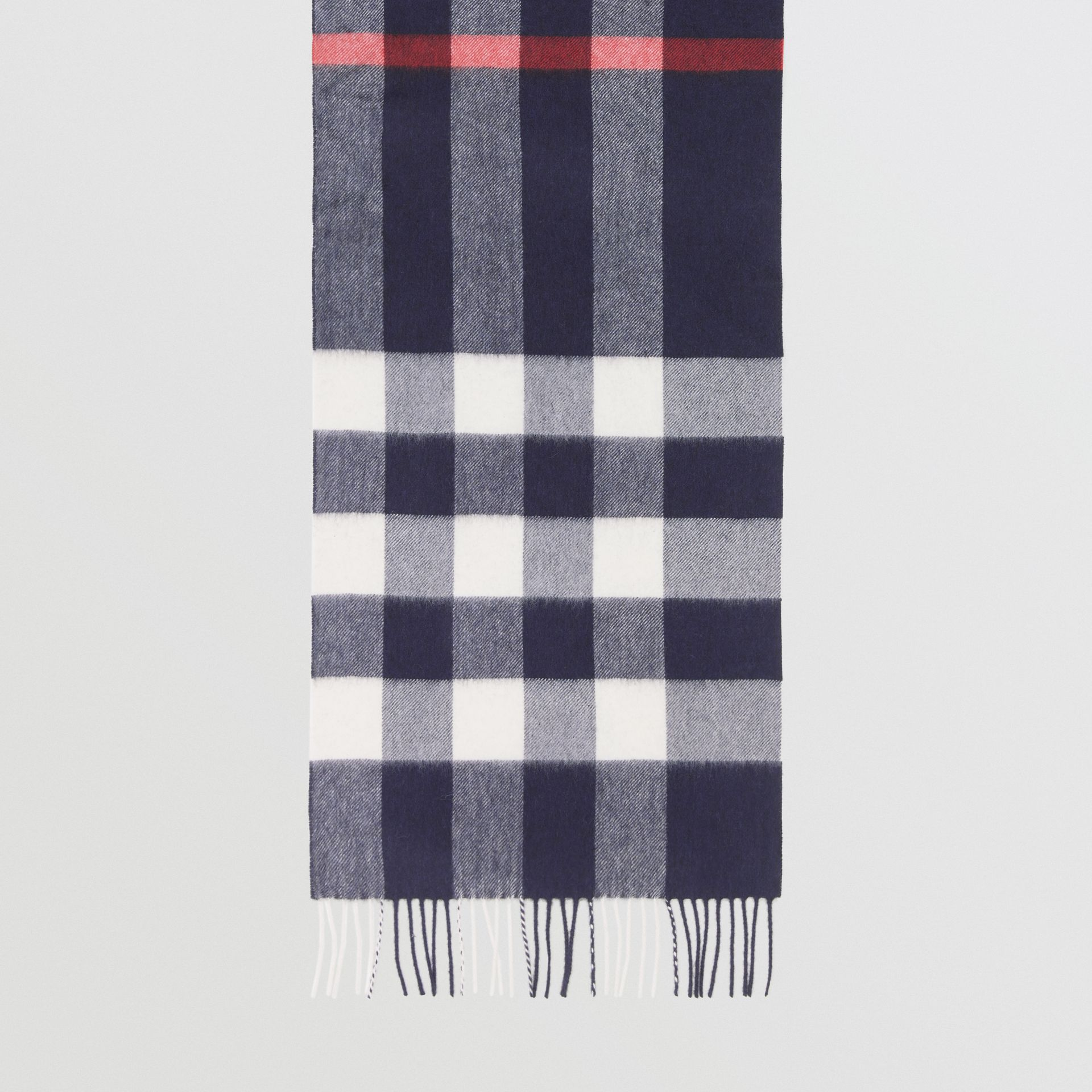 Check Cashmere Scarf in Navy | Burberry United Kingdom - gallery image 2