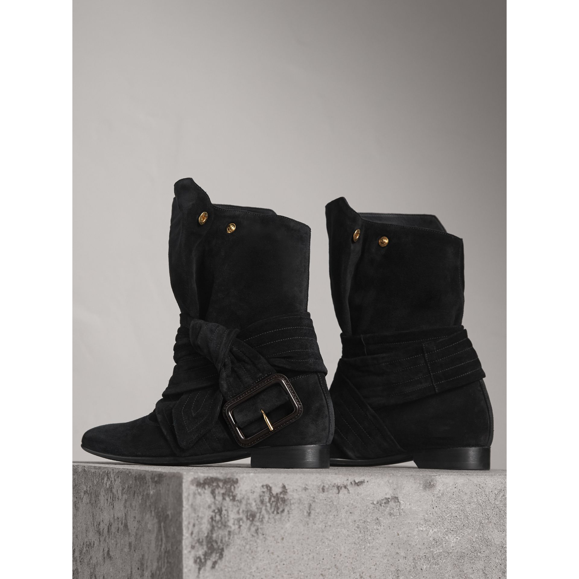 Belt Detail Suede Boots in Black - Women | Burberry United States - gallery image 4