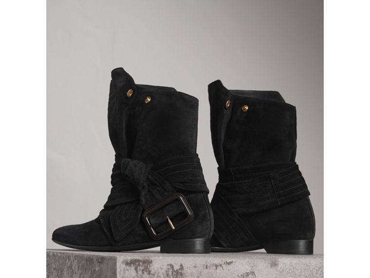 Belt Detail Suede Boots in Black - Women | Burberry - cell image 4