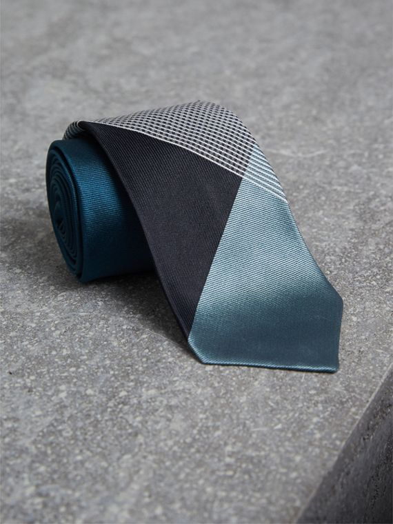 Modern Cut Check Silk Twill Jacquard Tie in Mineral Blue