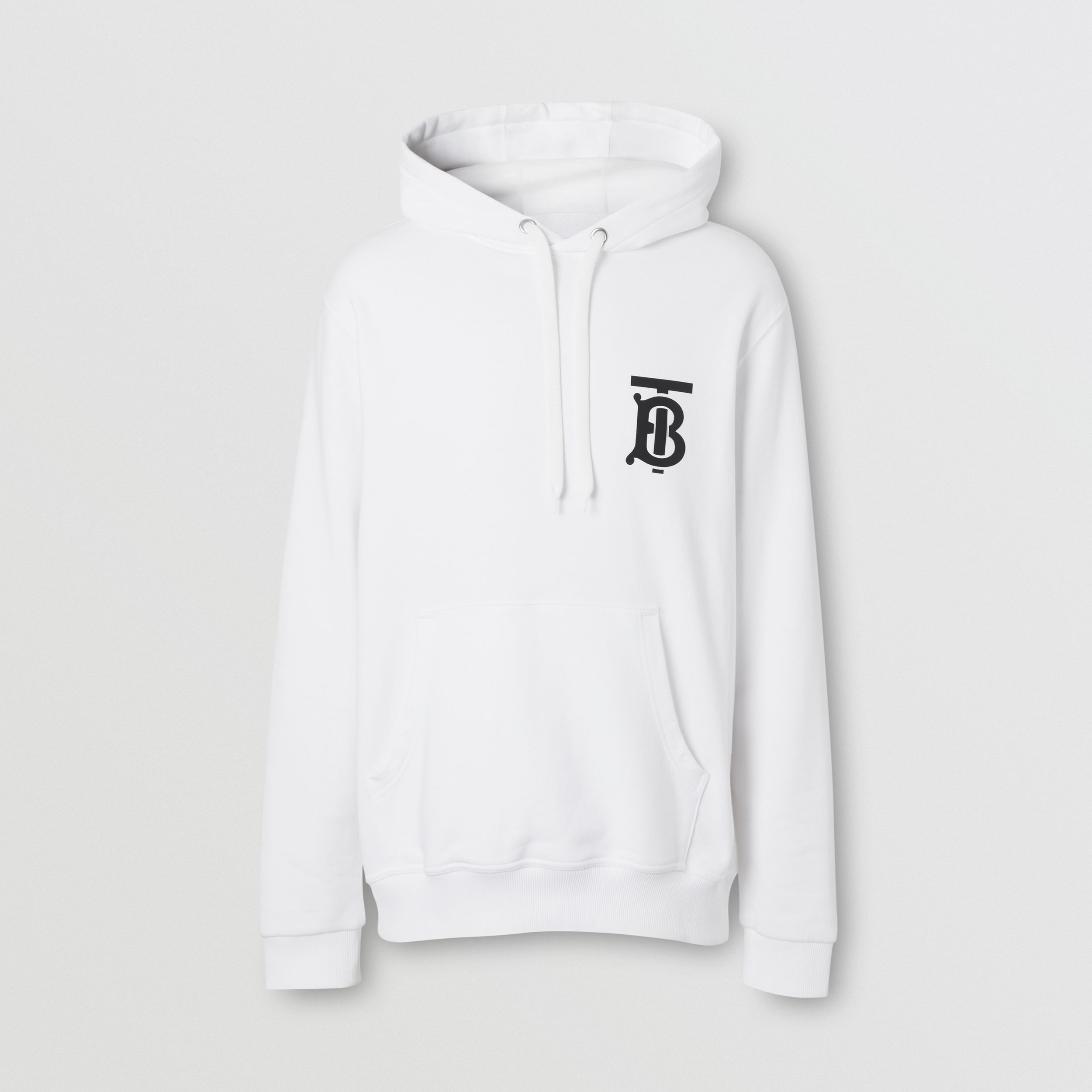 Monogram Motif Cotton Hoodie in White - Men | Burberry Australia - 4