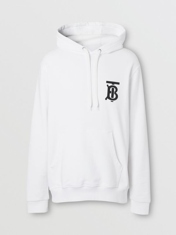 Monogram Motif Cotton Hoodie in White - Men | Burberry - cell image 3