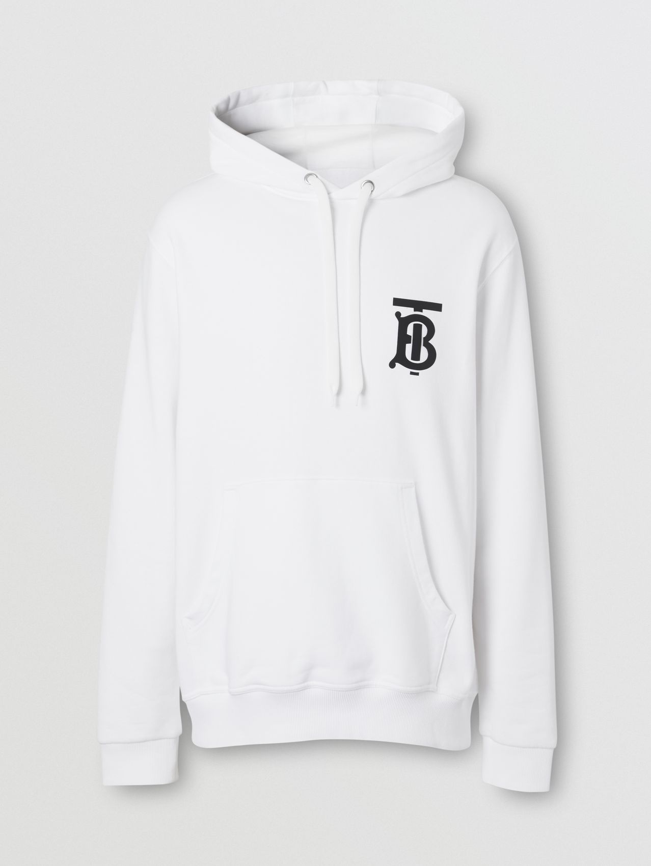 Monogram Motif Cotton Hoodie in White