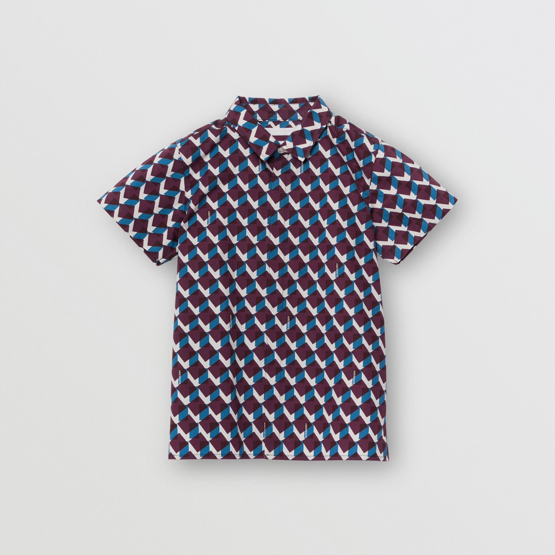 Short-sleeve Geometric Print Cotton Shirt in Mineral Blue | Burberry - gallery image 0