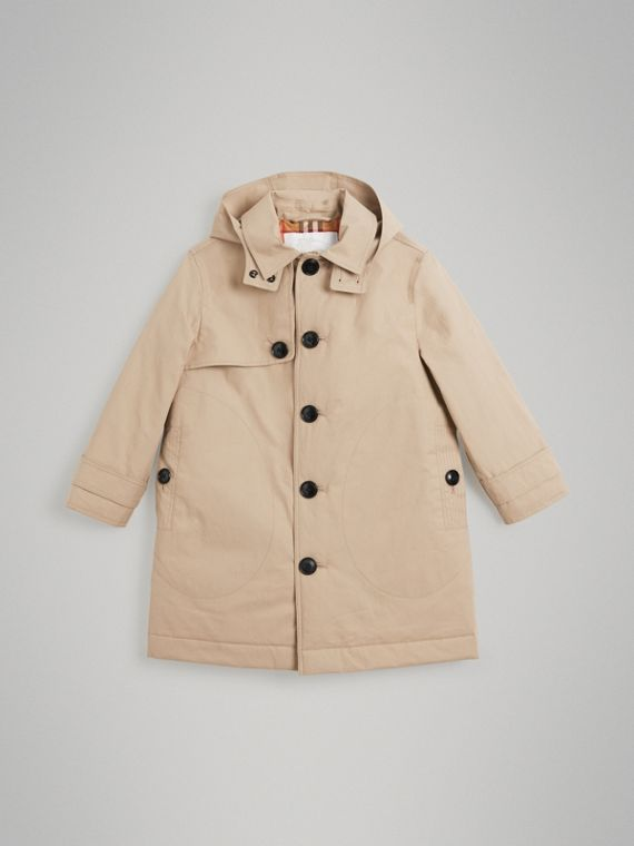 Car coat de algodão com capuz removível (Mel)