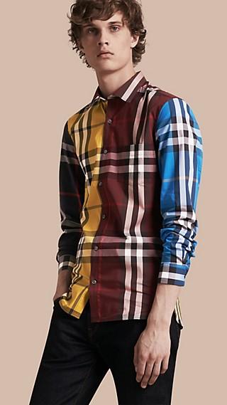 Colour Block Check Cotton Blend Shirt