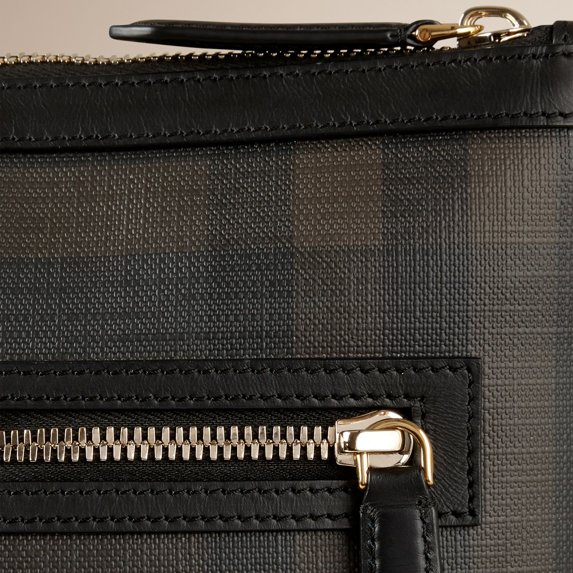 Leather Trim London Check Crossbody Bag in Chocolate/black - Men | Burberry - gallery image 2