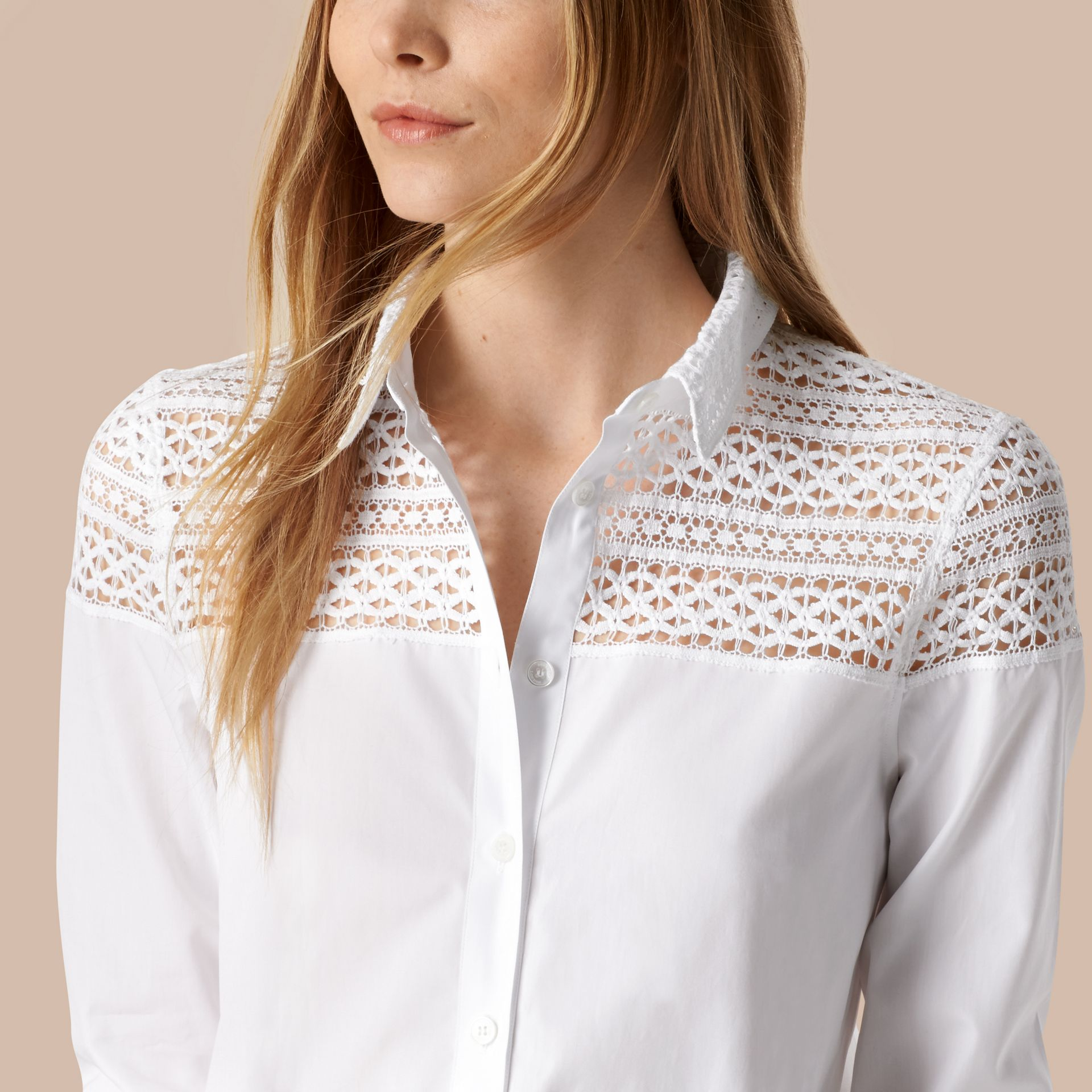 White Macramé Lace Detail Cotton Shirt - gallery image 4